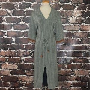 Zara Trafaluc knit shift dress stripe fringe small